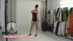 magnificent damsel in latex dress in backstage pin