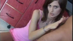 chick in a brilliant pink dress gives footjob