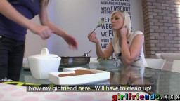 Girl-friends have lunch then fierce shaved cell phone