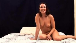 small breasted brunette gives amateur hand job