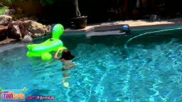 Steals Your discouraged! slight teenage  Claire playfully masturbates external by pool