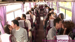 Japanese teenage  groupsex activity  stunners on a bus
