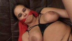 A huge-boobed  amateur girlfriend homemade xxx  action. trussed on her sofa she gets her slit toyed,