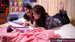 Hotties Out West - Lesbian teens finger and lick unshaven twats