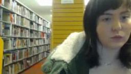Amateur cam girl flashes tits, ass and pussy in busy public library