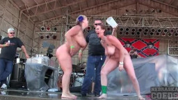 Curvy bare amateurs mannequin on stage at concert