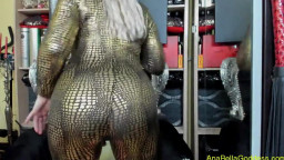worship my colossal sphincter gold leather catsuit deviance