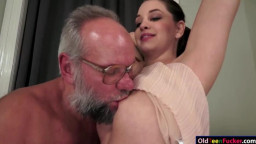 Cutie Angelina Brill ride on an old cock