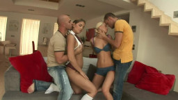 Blonde and brunette babes fuck two studs side by side