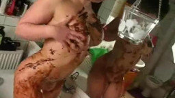 2 big-titted fledgling  lesbo girlfriends plays with nutella in their tub slow! Homemade vagina eati