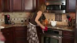 Stepmother Jodi West pounds son in kitchen after turning him on!