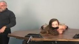 Young female sub gets her legs and hands stretched by mature master