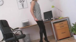Cock-craving slender secretary is undressing on exactly the table