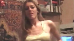 Good young blond gf reveals her muff and merciless boobs