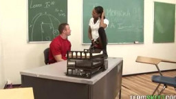 black  teen rides sausage in classroom