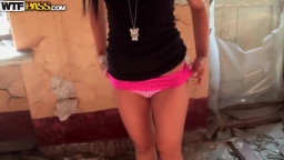 Petite teen Bella will get nude and takes on schlong