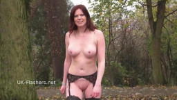 Redhead Holly kiss flashing in public and outdoor fake penis  masturbation