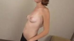 Redhead amateur gets on her knees to blow sausage
