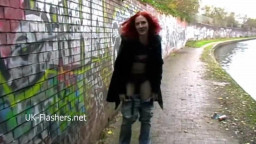 Public flashing of redhead milf Monica displaying hooters and peeing outdoors