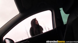 Stranded Teens - Shy Gina Devine flashes driver