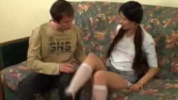 Russian schoolgirl gets sandwiched by a stud and his uncle