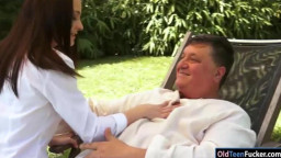 Petite Ashley Woods rides old mans cock