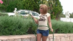 Teen with incredible curves hoses down her body