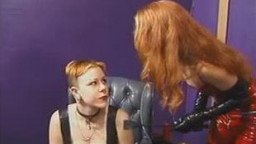 Soft-titted redhead dyke is slouch proper by cruel domina in red leather